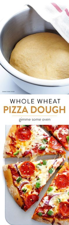 Whole Wheat Pizza Dough -- easy to make and SO tasty! great recipie - I made two thin crust pizza's with it and it was yummy! Flour Recipes, Pizza Recipes, Cooking Recipes, Healthy Recipes, Wheat Pizza Dough Recipe, Easy Pizza Dough, Whole Wheat Pizza, Cookies Et Biscuits, Deep Dish
