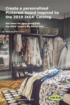 Ideas just for you from the 2019 IKEA Catalog. Closet Bedroom, Dream Bedroom, Home Bedroom, Bedroom Decor, Bedrooms, Master Bedroom, Home Organization, Organizing, Apartment Living