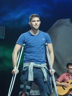 Colm Keegan - Wearing a splint after having a surfing accident while on tour in Australia.  5/26/14
