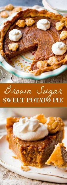 Homemade sweet potato pie! Made with dark brown sugar, 2 sweet potatoes, and cinnamon spice. Thanksgiving pie recipe on sallysbakingaddiction.com