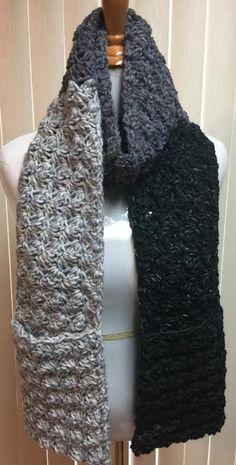 Pocket Scarf, Crochet Scarf, Wool Scarf, Gray Scarf, Pockets, Chunky Scarf, Crocheted Scarf, Crochet Scarf Pocket, Winter Scarf, Fall Scarf by CozyNCuteCrochet on Etsy