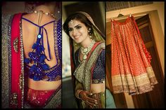 Red and blue outfit with golden work for the bride on her big day Indian Bride Dresses, Indian Outfits, Bridal Dresses, Indian Clothes, Bollywood Wedding, Desi Wedding, Desi Bride, Pakistan Fashion, Wedding Sutra