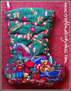 A fabric, quilted traditional Christmas stocking. Personalisation available. Featuring a rocking horse with other toys. Traditional Christmas Stockings, Quilted Christmas Stockings, Rocking Horse Toy, White Fabrics, Horses, Toys, Holiday Decor, Red, Paint
