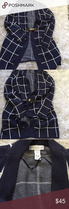 Cardigan ‼️‼️ PRICE REDUCE, FLASH SALE ‼️‼️Beautiful & great condition long navy blue and white cardigan, from Charter Club. Hardly worn perfect for fall! Purchased at Macy's. Charter Club Sweaters Cardigans