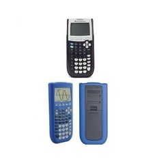 TI-84 GRAPHING CALCULATOR W/ BLUE SILICONE CASE Calculus Engineering Finances #TexasInstruments