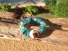 Cone Shell and Sea Glass Bead Beach Bracelet by FlatteryDesigns, $10.00