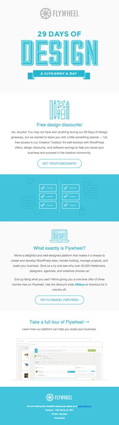 @heyflywheel  sent this email with the subject line: Didn't win 29 days of design? - Read about this email and find more announcement emails at ReallyGoodEmails.com #announcement #giveaway