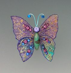 Turquoise and Purple Butterfly Brooch by LauraWilsonGallery, $65.00