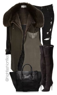 """""""Fly Chick"""" by highfashionfiles ❤ liked on Polyvore featuring Levi's, River Island, Rick Owens, CÉLINE and Giuseppe Zanotti"""