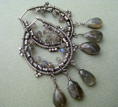Wire wrapped earrings with labradorite by wiredetsy, via Flickr