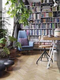bookshelf in the workroom