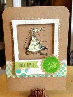 Birthday card, Tim holtz stamp, basic grey paper and embellishment