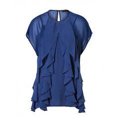 Camicia in georgette, maniche corte, collo rotondo, con volant davanti, profilo collo e goccia dietro in eco-pelle, canotta in satin. 5HL05Q0N6 BLUE