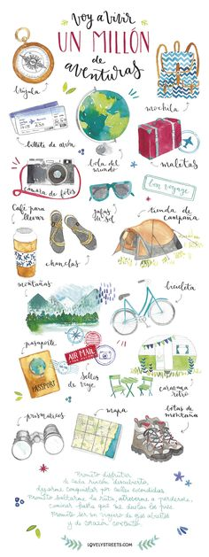 wanderlust doodles A visual packing list in watercolor painting Travel Illustration, Watercolor Illustration, Watercolor Painting, Watercolor Journal, Illustration Sketches, Travel Drawing, Travel Design, New Travel, Beach Travel