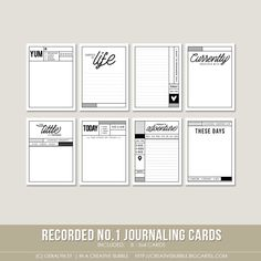 This set of eight digital journaling cards is perfect for pocket page protectors, scrapbooking and mini-books. Included in this set are individual high resolution .png files and two printable .pdf pages.This set contains: 8 - 3x4* Journaling cards *actual size of cards is 2.95x4 to comfortably fit Project Life page protector pocketsNote: For personal use only. This is a downloadable product