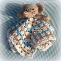 Link to buy pattern, but blanket is simple granny square and you may be able to find an elephant head & leg pattern (she used free. ** PATTERN FOR SALE May 2015 Crochet Security Blanket, Crochet Lovey, Crochet Bebe, Knit Or Crochet, Baby Blanket Crochet, Crochet For Kids, Crochet Toys, Bunny Blanket, Crochet Elephant Pattern