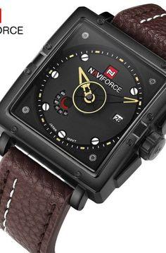 Naviforce Watches Men Brand Luxury Leather Quartz •