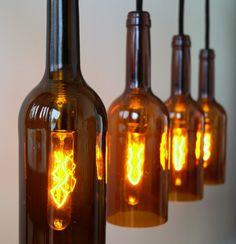 """Flaschenlampe Hängelampe """"Lampada quattro rossi"""" von Uniikat Shop - Recycling mit Stil auf DaWanda.com"""