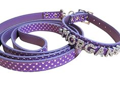 Polka Dot PU Leather Bling Personalize Dog Name Collar and Matching 5FT Leash Set  S Neck Size 9812 w XS leash Purple -- Visit the image link more details.