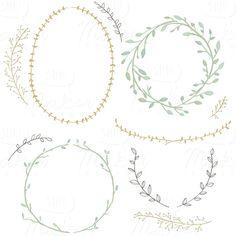 Wreaths & Laurels Watercolor Clip Art Digital by ShhMakerDesign