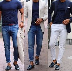 One top 3 looks. Mens Fashion Blazer, Men's Fashion, Mens Fashion 2018 Suits, Blazer And T Shirt, Mens Casual Suits, Mode Man, Loafers Outfit, Look 2018, Moda Chic