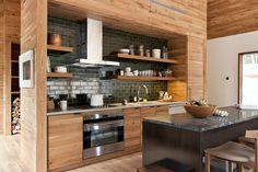 Küchengestaltung Wände moderne küchengestaltung der wände holz trennwand offene wandregale