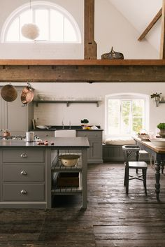 Exposed beams, original wooden floor and beautifully high ceilings. This charming space made was perfect for this modern rustic deVOL Kitchen.