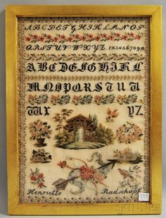 An Absolutely Beautiful Century European Sampler Stitched By Henriette Radschopf Embroidery Sampler, Cross Stitch Embroidery, Cross Stitch Samplers, Yesterday And Today, 19th Century, Needlework, Vintage World Maps, Auction, Victorian