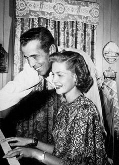 Humphrey Bogart & Lauren Bacall -  He & Bacall married in a small ceremony at the country home of Bogart's close friend, Louis Bromfield, on May 21, 1945. Bogart became a father at age 49 when Bacall gave birth to Stephen (Steve) Humphrey Bogart on January 6, 1949, during the filming of Tokyo Joe. Stephen was actually named after Bogart's character's nickname in To Have & Have Not.  Their daughter, Leslie Howard Bogart, was born on August 23, 1952 & named after British actor Leslie Howard.