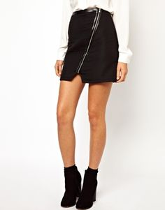 Warehouse Quilted Zip Detail Skirt