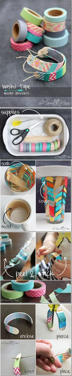 DIY Washi Tape Jewelry | Washi Tape Wooden Bracelets by DIY Ready at http://diyready.com/100-creative-ways-to-use-washi-tape/