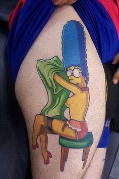 The Simpsons Tattoos Pt. Tattoos Motive, Pin Up Tattoos, Badass Tattoos, Love Tattoos, Body Art Tattoos, Tattoos For Women, Tatoos, Tattoo Ink, Simpsons Tattoo