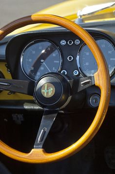 1969 Alfa Romeo 1750 Spider Steering Wheel - Car photographs by Jill Reger Alfa Cars, Alfa Romeo Cars, Vintage Bikes, Vintage Cars, Vintage Metal, Alfa Romeo 1750, Automobile, Alfa Romeo Spider, Dashboards
