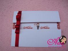 Convite de casamento com detalhes vermelhos Pedido minimo: 50 unidades Tamanho : 12x16cm R$1,50
