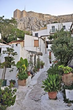 Walking in Anafiotika. Athens Greece, Greece Travel, Cosmos, Sunrise, The Neighbourhood, Beautiful Places, Paris, Mansions, House Styles