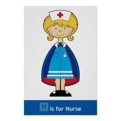 Cute Nurse Poster. By markmurphycreative.
