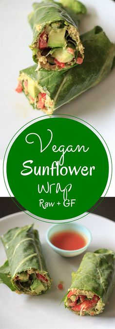 Vegan and gluten free wrap made with collard greens, veggies and sunflower hummus. This sunflower wrap is full of healthy flavors!