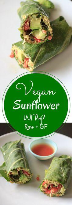 Vegan et gluten wrap libre faites avec le chou vert, les légumes et le tournesol houmous.  Cet enveloppement de tournesol est plein de saveurs en bonne santé!