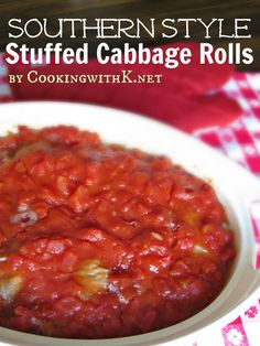 Cooking with K - Southern Kitchen Happenings: Southern Style Stuffed Cabbage Rolls {Granny's Recipe}