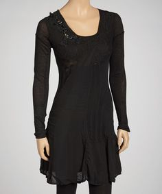 Take a look at this Black Lace Embellished Long-Sleeve Linen-Blend Dress on zulily today!