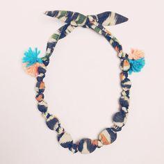 Ikat Fabric Beaded Tassel Necklace