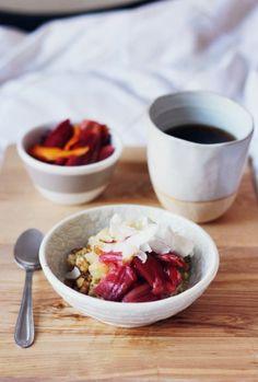Quinoa Porridge with Almond Milk, Rhubarb, Apple, Nuts, and Coconut
