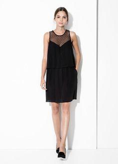 new product fb5c7 55c69 Parka militar tencel - Mujer  MANGO Panel Dress, Tule, Crepe Dress, Fall
