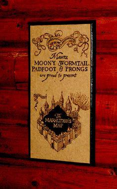 Harry Potter art - Marauder's Map woodburned home decoration $35