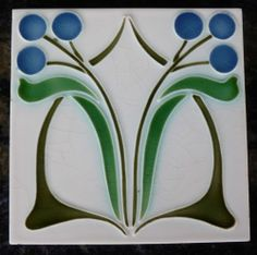 Jugendstil Fliese Art Nouveau Tile Tegel Dtag Blüten Blau RAR Top SCHÖN Apart | eBay