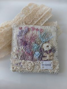 Wild Garden Wishes Embroidered Felt Brooch with Antique Lace