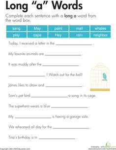 """Worksheets: Long """"a"""" Sound"""