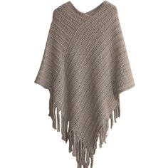 Ladies Fringe Batwing Sleeve Poncho Plain Pullover Sweater ($17) ❤ liked on Polyvore featuring tops, sweaters, cardigans, khaki, poncho top, pullover poncho, fringe sweater, brown pullover sweater and brown sweater