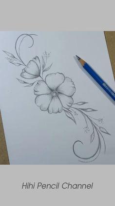 Simple Flower Drawing, Easy Flower Drawings, Beautiful Flower Drawings, Flower Art Drawing, Flower Drawing Tutorials, Floral Drawing, Simple Flower Design, Flower Tattoo Drawings, Flower Designs