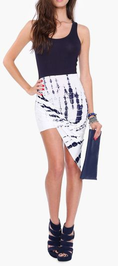 Tie Dye Asymmetrical Dress in Navy